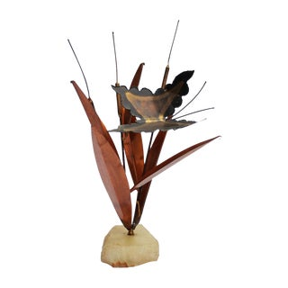 Mid-Century Onyx and Brass Butterfly Sculpture