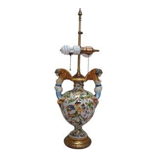Italian Majolica Pottery Lamp