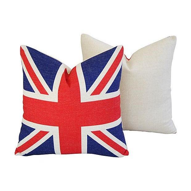 British Union Jack Linen Pillows - A Pair - Image 5 of 7