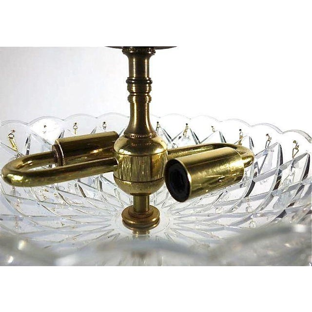 Brass & Draped Crystal Ceiling Fixture - Image 3 of 7