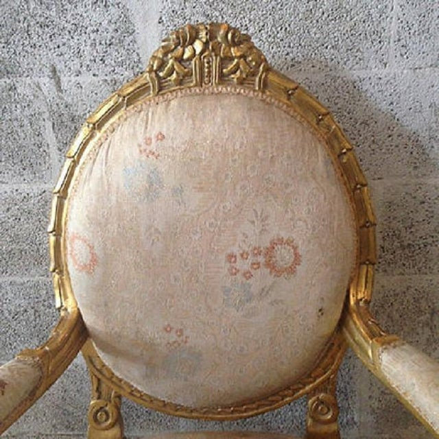 Image of French Louis XVI Gold Leaf Frame Chairs - A Pair