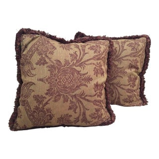 Burgundy & Mustard Damask Pillows - A Pair