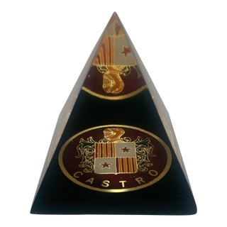 Lucite Castro Family Crest Paperweight