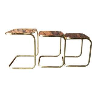 Vintage Brass Glass Set of 3 Nesting Tables