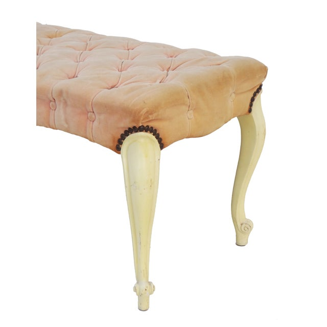 Image of Pink Velvet Tufted French Provincial Bench