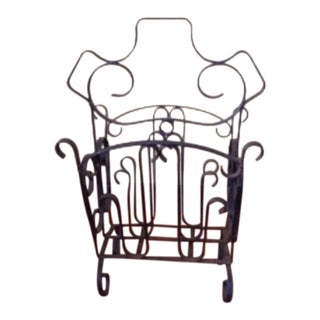 Vintage Wrought Iron Scroll Magazine Holder