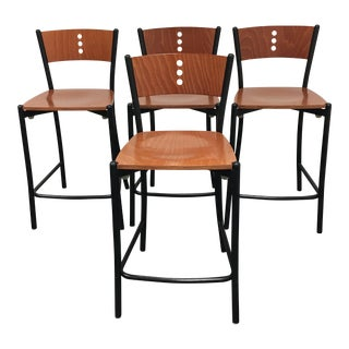 Contemporary Wood & Metal Counter Stools - Set of 4