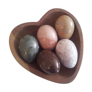 Wood Heart Bowl With 5 Natural Stone Eggs