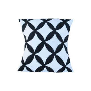 Black and White African Flower Motif Cushion