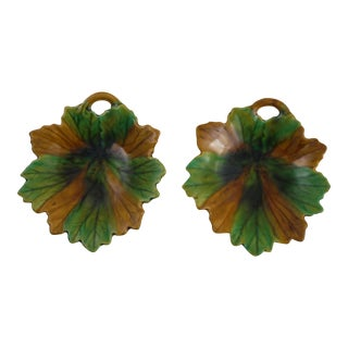 Majolica Leaf Dishes - Pair