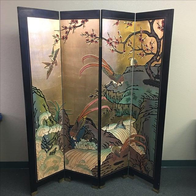 Four Panel Metallic Chinese Screen - Image 2 of 10