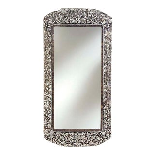 Transitional Long Handcut Glass Rectangular Mirror