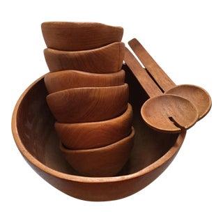 Mid-Century Staved Teak Salad Set - Set of 9