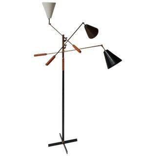 Classic Italian Arredoluce Styled 'Triennale' Floor Lamp Brass & Cognac Leather