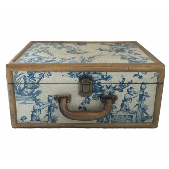 Antique Blue & White Toile Box - Image 1 of 9