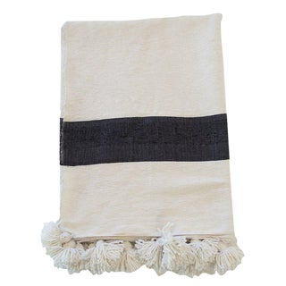 Moroccan Black on White Pom Pom Blanket