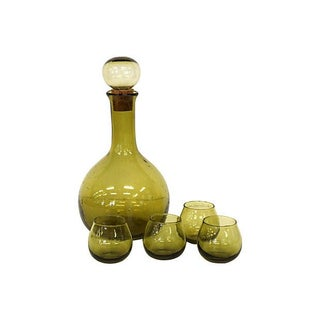 Blown Glass Decanter & Glasses - Set of 5
