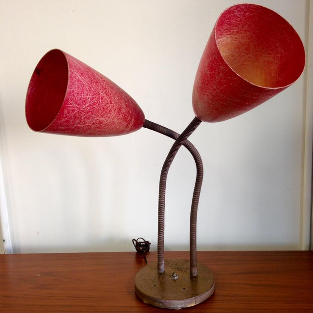 Red Fiberglass Table Lamp - Image 2 of 8