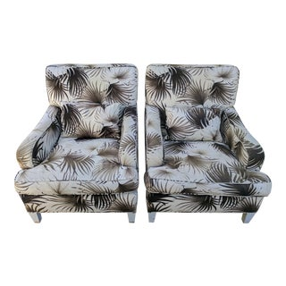 Palm Leaf Upholstered Armchairs - A Pair