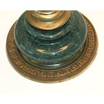 Image of Mid-Century Green Marble and Brass Lamp
