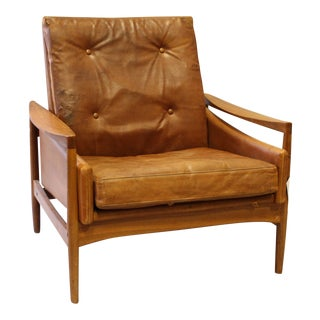 Danish Modern Leather Arm Chair