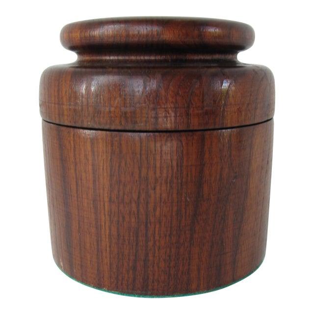 Round lidded wood box chairish for Circular wooden box
