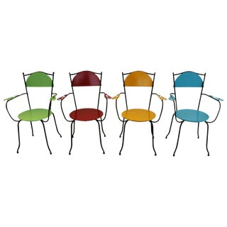 1950's Colorful French Iron & Wood Chairs - Set of 4