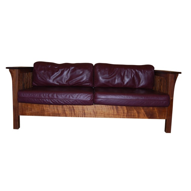 Image of Walnut Mission Leather Sofa