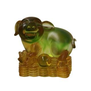 Chinese Liuli Crystal Glass Pate-de-verr Zodiac Pig Sitting On Pool Of Money Statue