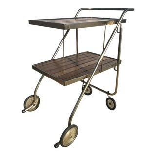 Mid-Century Wood Slat & Metal Rolling Bar Cart