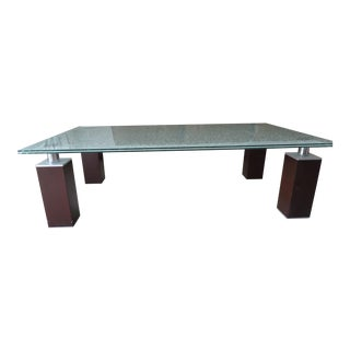 Contemporary Glass Top & Wooden Legs Coffee Table
