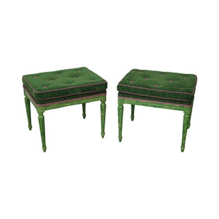 Vintage Louis XVI Green Painted Benches - A Pair
