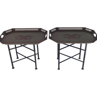 Campaign Style Tray Tables - A Pair