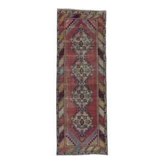 "Vintage Turkish Hand-Knotted Runner Rug - 3' x 8'8"""