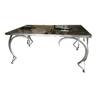 Mirrored Top Gilt Silver Metal Coffee Table