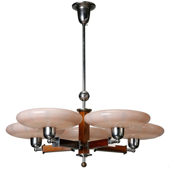 Image of French Art Deco Chrome Wood Glass 5 Light Fixture