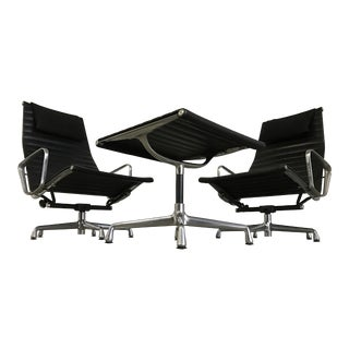 Upgraded Vintage Herman Miller Eames Aluminum Group Lounge Chairs & Ottoman - a Pair