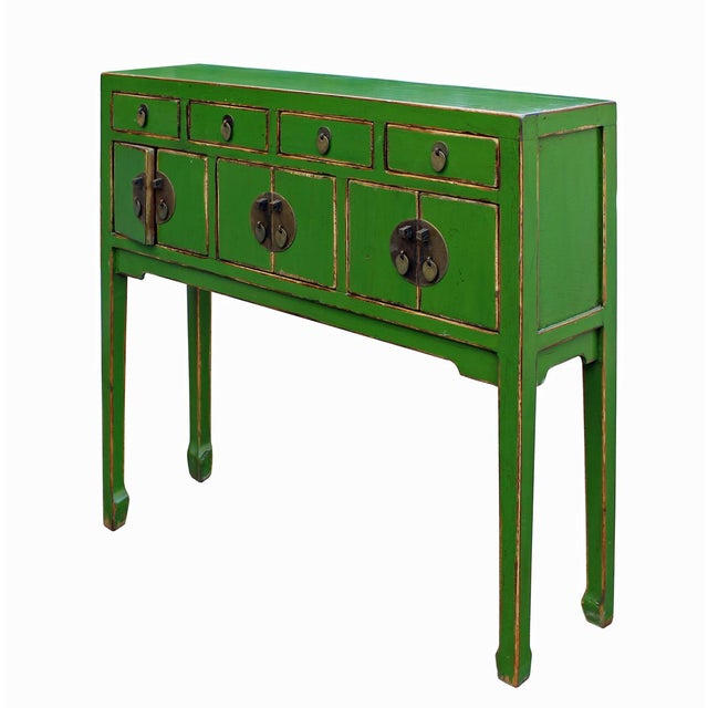 Green Foyer Table : Chinese distressed green foyer table chairish