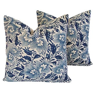 Custom Indigo Blue Floral Linen Pillows - Pair