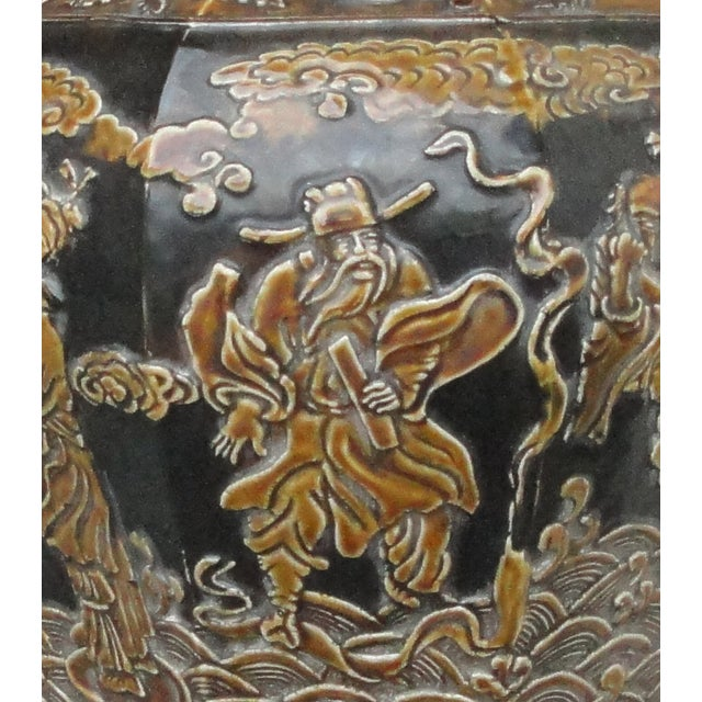 Chinese Eight Immortals Octangle Porcelain Vase - Image 6 of 10