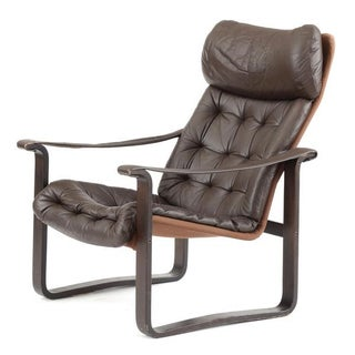 Danish Modern High Back Leather Lounge Chair by Dahlqvist Finland