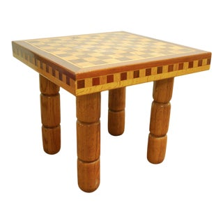 Postmodern Oak and Walnut Inlay End Table, Circa 1980