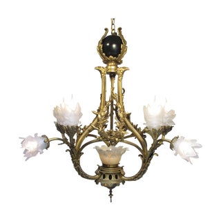 Antique Vintage Chandelier with Bronze Eagle