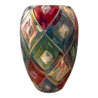 Vintage 1963 Bohemia Crystal of Czechoslovakia Diamond Pattern Multi-Colored Glass Vases - a Pair
