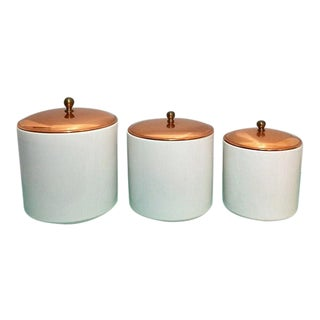 Vintage Taurus Portugal Canisters W/ Copper & Brass Lids- 6 Pieces