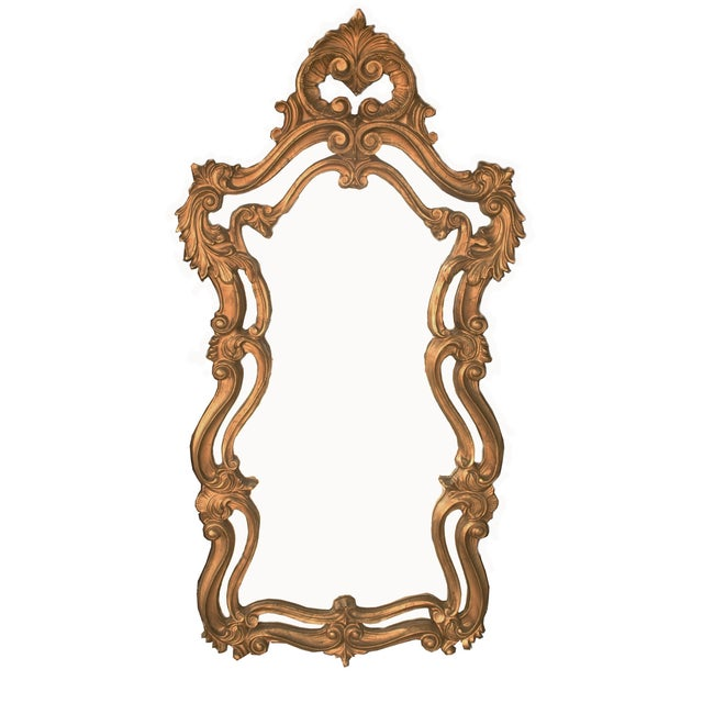 Image of Ornate Gold French Mirror, Hollywood Regency Style