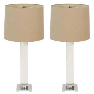 Hansen Crystal Lucite Column Table Lamps - a Pair