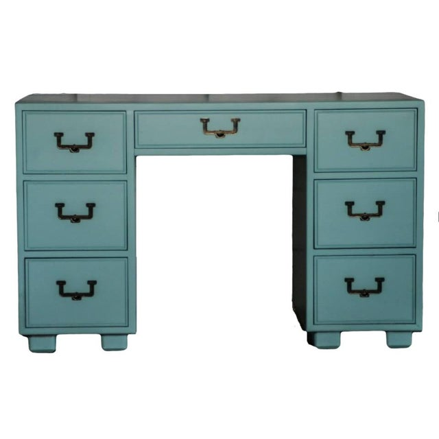 Hollywood Regency Desk with Brass Handles - Image 2 of 4