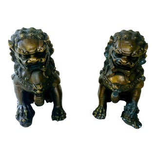Vintage Brass-Plated Foo Dogs - A Pair
