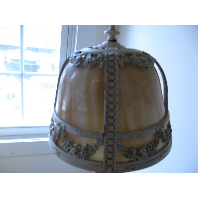 Cream Iron and Brass Slag Glass Lamp - Image 7 of 8